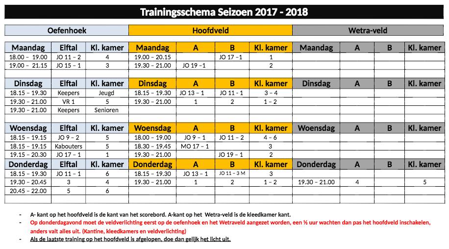 Traningsschema-seizoen-2017-2018